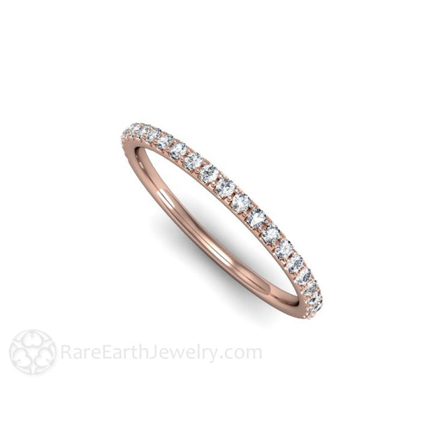 Skinny Band Rose Gold Diamond Anniversary Ring Rare Earth Jewelry