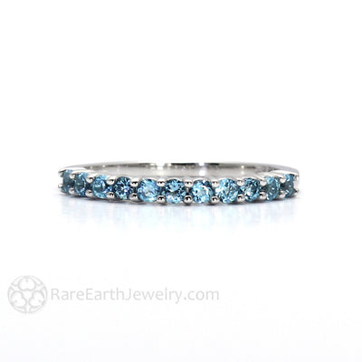 Rare Earth Jewelry Blue Topaz Stacking Ring December Birthstone