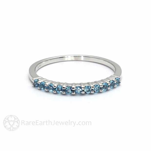 Blue Topaz Ring Round Cut Stacking Band Rare Earth Jewelry