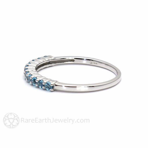 Round Cut Petite Swiss Light Blue Topaz Ring Rare Earth Jewelry