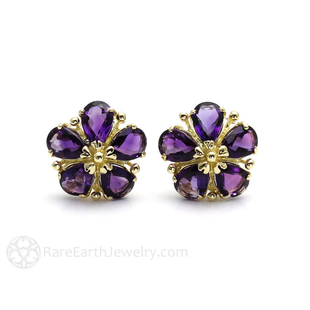 Rare Earth Jewelry February Birthstone Earrings Pear Cut Amethyst 14K Gold Setting and Post Stud Backs