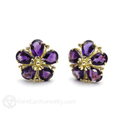 Rare Earth Jewelry Purple Gemstone Earrings Natural Amethyst Stud Post Backs