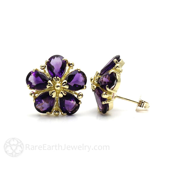 Rare Earth Jewelry Amethyst Post Earrings in 14K Gold Flower Settings
