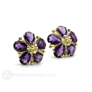 Rare Earth Jewelry Amethyst Post Earrings Floral Design Natural Purple Gemstones 14K Gold