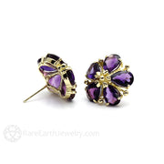 Rare Earth Jewelry Purple Amethyst Earrings Pear Cut Gemstones 14K Gold