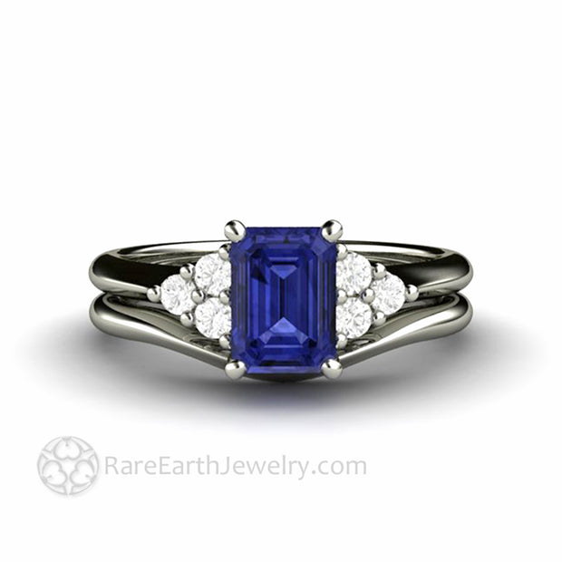Tanzanite Engagement Ring and Wedding Band in 14K White Gold