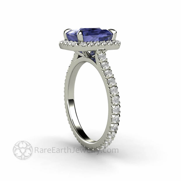 Tanzanite Halo Ring French Pave Diamond Eternity Band
