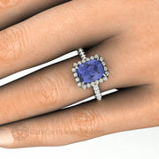Tanzanite Diamond Halo Ring Cushion Cut on the Hand