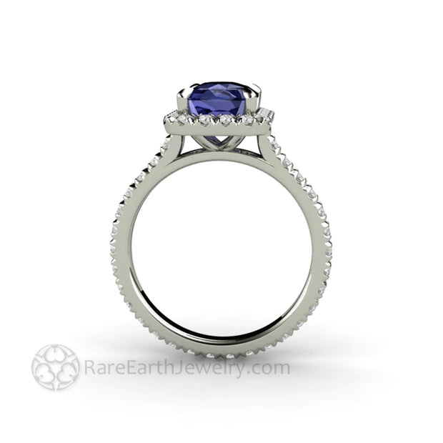 Side view of Tanzanite Ring with eternity Style Band