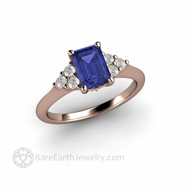 Emerald Cut Tanzanite Engagement Ring with Diamonds