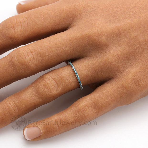 Teal Blue Diamond Band Thin Pave Diamond Wedding Ring Hand Photo