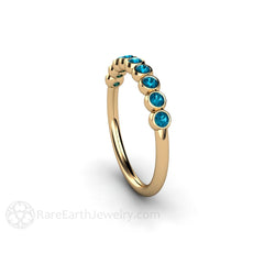 Round Cut Natural Blue Diamond Bezel Set Ring Stacking Stackable Band Rare Earth Jewelry