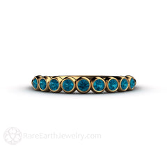 18K Gold Teal Blue Diamond Wedding Anniversary Band or April Birthstone Ring Rare Earth Jewelry