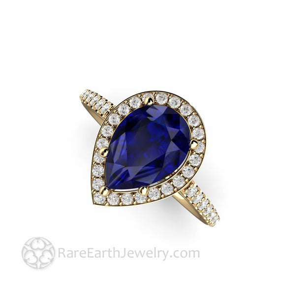 Teardrop Blue Sapphire Halo Wedding Ring Unique Engagement Rings