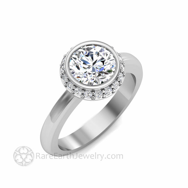 Oval White Sapphire Wedding Ring Bezel Halo Setting Diamond Accents
