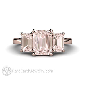 Emerald Cut Morganite Engagement Ring Three Stone Style