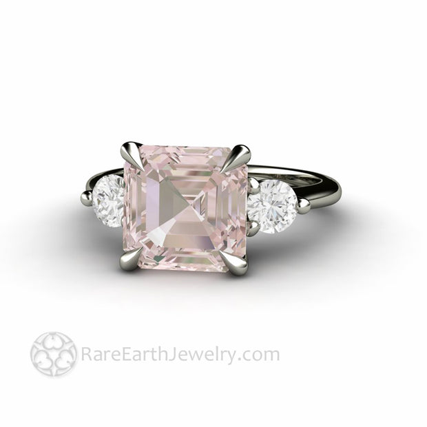 Three Stone Engagement Ring 3 Carat Morganite and Diamond Ring with claw prongs
