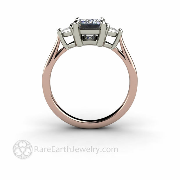 Classic Three Stone Ring Setting design with Rose and white Gold