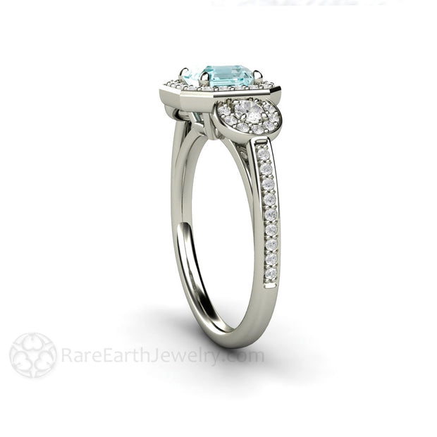 Three Stone Halo Aquamarine Ring Asscher Cut Rare Earth Jewelry