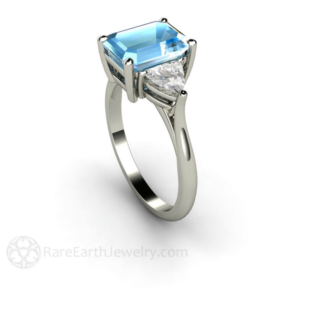 Rare Earth Jewelry Emerald Cut Aquamarine Three Stone Ring with Trillion White Sapphire Accents