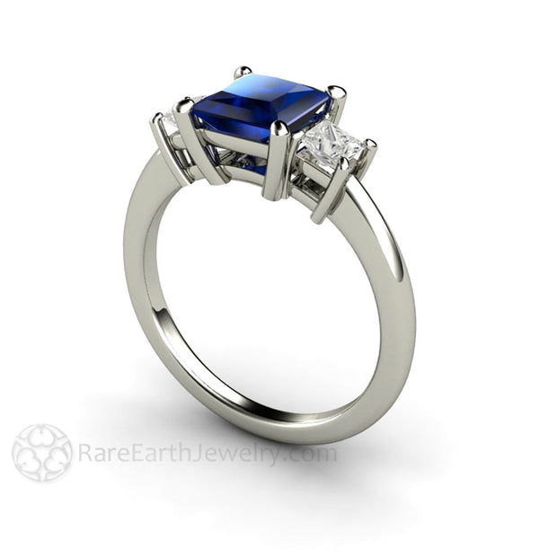 Rare Earth Jewelry 3 Stone Princess Cut Sapphire and Diamond Bridal Wedding Ring