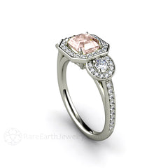 Rare Earth Jewelry Morganite Anniversary Ring Asscher Square Cut Halo 3 Stone