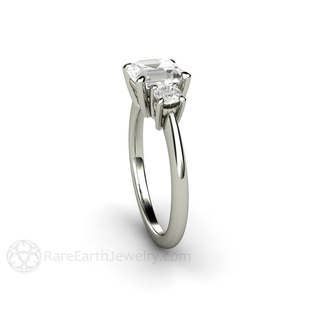 Rare Earth Jewelry Three Stone Forever One Asscher Moissanite Bridal Ring