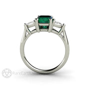 Emerald Cut 3 Stone Bridal Ring Lab Grown Emerald with Natural White Sapphires Rare Earth Jewelry
