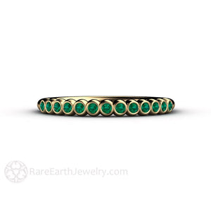 Rare Earth Jewelry Emerald Anniversary Band 14K Yellow Gold