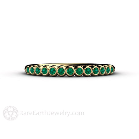 Tiny Bubbles Emerald Anniversary Band Stacking Ring May Birthstone