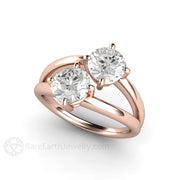 Rare Earth Jewelry 18K Rose Gold 2 Stone Moissanite Ring Round Cut Charles & Colvard Forever One