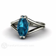 London Blue Topaz Solitaire Ring Split Shank Marquise Cut Rare Earth Jewelry