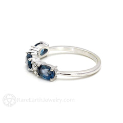 East West Oval London Blue Topaz and Diamond Ring Rare Earth Jewelry