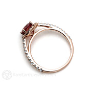 Pink Tourmaline and Aquamarine Halo Ring 14K Rose Gold Rare Earth Jewelry