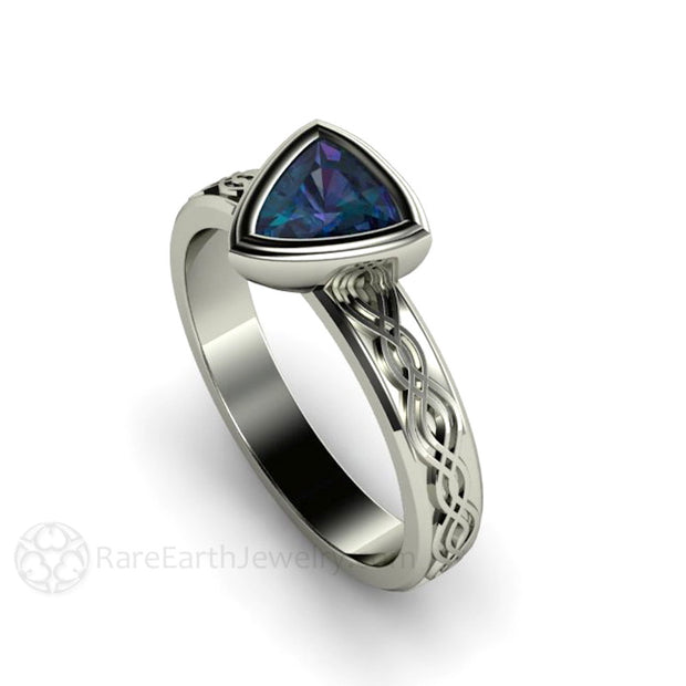 Alexandrite Engagement Ring Trillion Cut Bezel Set Rare Earth Jewelry