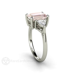 Morganite Engagement Ring Three Stone with Sapphires