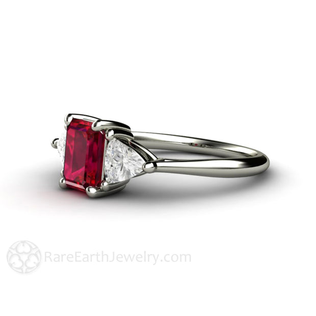 3 Stone Ruby Engagement Ring Emerald Cut with Trillion Sapphires 14K Rare Earth Jewelry
