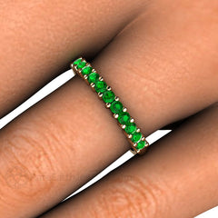 Tsavorite Garnet Anniversary Band or Stacking Ring