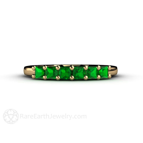 Tsavorite Garnet Princess 6 Stone Anniversary Band Stacking Ring