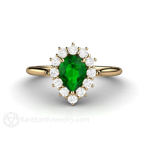 Rare Earth Jewelry Pear Cut Tsavorite Garnet Ring with Diamond Halo 14K Gold