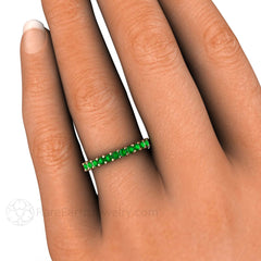Tsavorite Garnet Band on Finger Rare Earth Jewelry