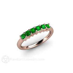 Rose Gold Green Tsavorite Garnet Stackable Band Rare Earth Jewelry