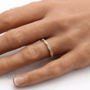 Twisted Diamond Ring on the hand Infinity Design Double Band Stacking Band or Wedding Ring by Rare Earth Jewelry