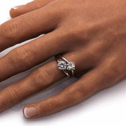 Two Stone Moissanite Ring with 2 Round 1 Carat Charles and Colvard Moissanite and Split Shank on the Finger
