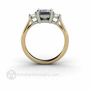 Two Tone Classic Three Stone Ring Mounting with Trillions