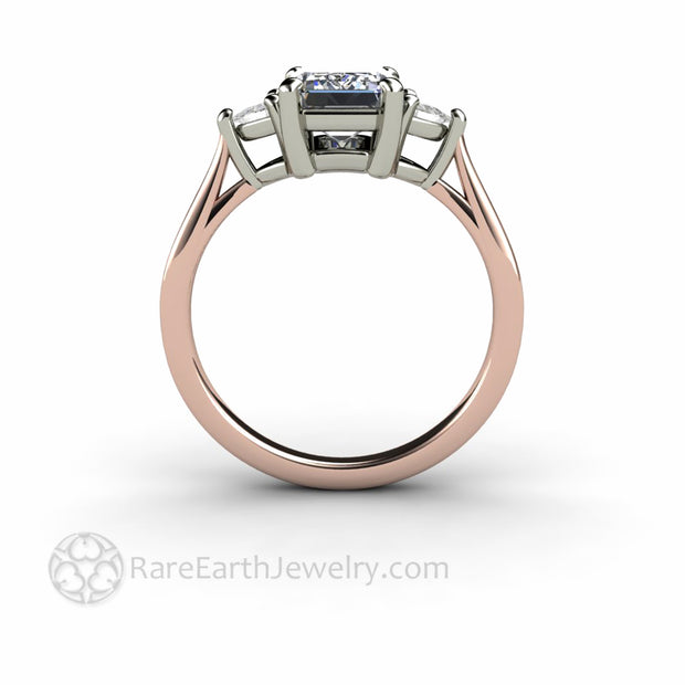 Two Tone Engagement Ring Setting Rose and White Gold 3 Stone Design