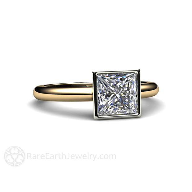 Two Tone Gold Bezel Set Moissanite Engagement Ring by Rare Earth Jewelry