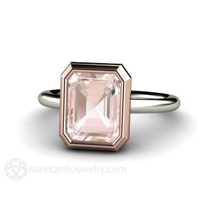 Rare Earth Jewelry Two Tone Emerald Cut Morganite Bezel Ring
