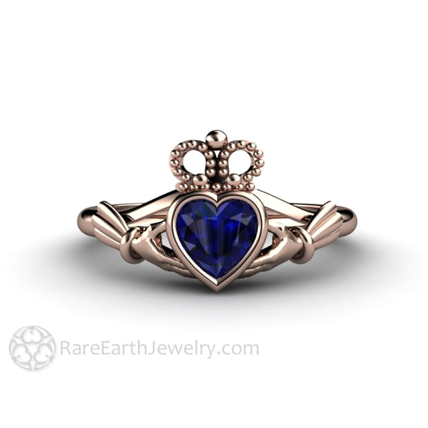 Unique Claddagh Ring Jewelry from Ireland September Birthstone Ring in 14K Rose Gold Rare Earth Jewelry
