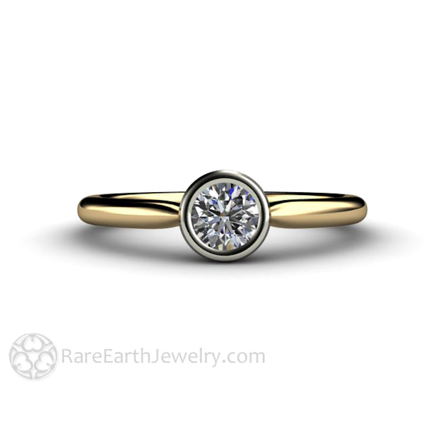 Unique Diamond Bezel Solitaire Ring White and Yellow 14K Two Tone Gold April Birthstone Rare Earth Jewelry